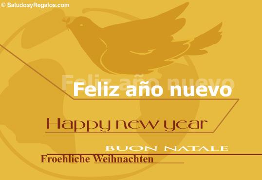 Tarjeta - Tarjeta feliz año nuevo en varios idiomas