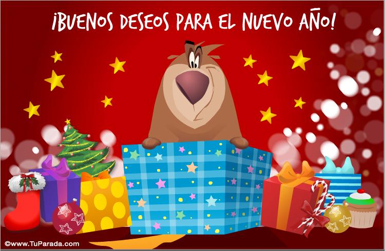 enviar tarjeta  postal  tarjeta de feliz a u00f1o nuevo con oso