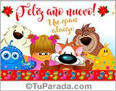 Tarjetas postales: Feliz año nuevo con abrazo
