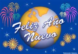 Feliz año nuevo con mundo festivo