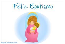 Tarjeta de Bautismo - Virgen y niño