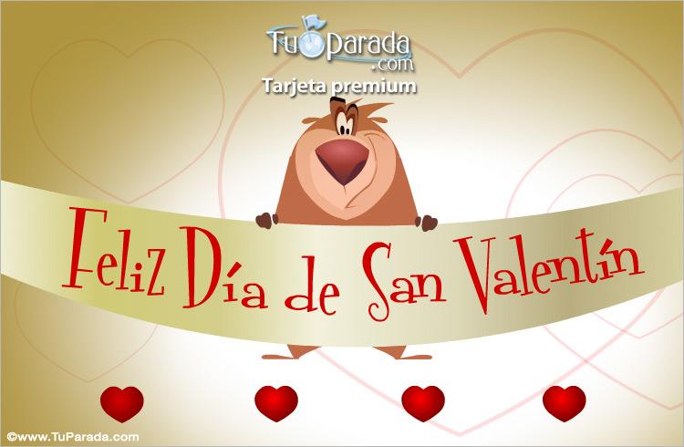 Tarjeta - San Valentín con oso divertido