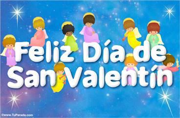 Tarjeta con ángeles de San Valentín