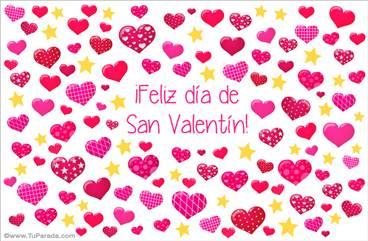 Tarjeta de San Valentín con corazones