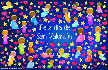 Tarjeta para San Valentín con angelitos