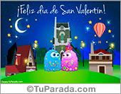 Tarjeta de día de San Valentín de noche, para el 14 de febrero.