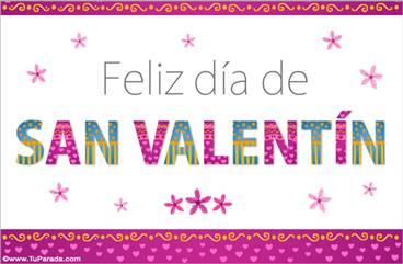 Tarjeta San Valentín con letras animadas