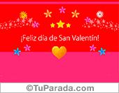 Tarjeta para San Valentín con rojo y magenta, para desear un feliz día.