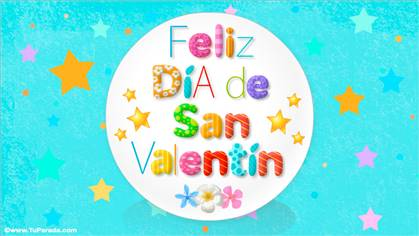 Postal animada de San Valentín con estrellas