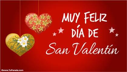 Tarjeta Día de San Valentín con adornos