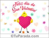 Tarjeta de San Valentín con corazón y pájaro.