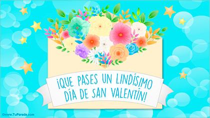 Tarjeta de feliz día de San Valentín con flores