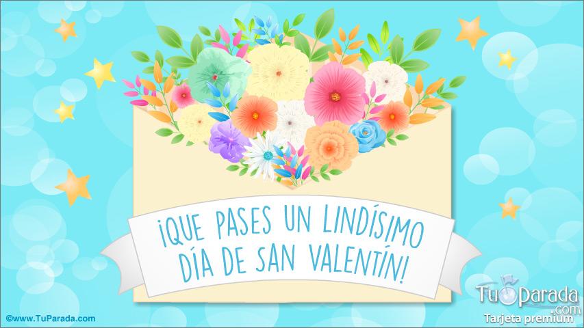 Tarjeta - Tarjeta de feliz día de San Valentín con flores