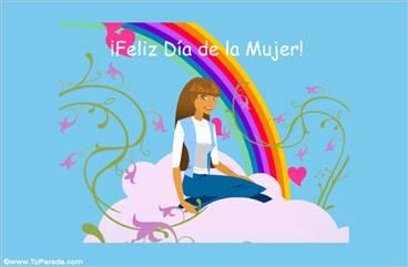 Feliz día de la Mujer con arco iris