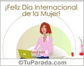 Feliz Día Internacional de la Mujer con notebook