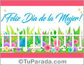 Tarjeta de feliz día de la mujer con jardín y flores.