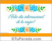 Tarjeta de feliz día internacional de la mujer con flores.