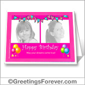 Birthday printable card with photos - For all devices