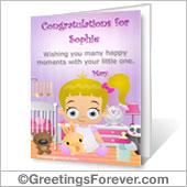 Baby girl printable card