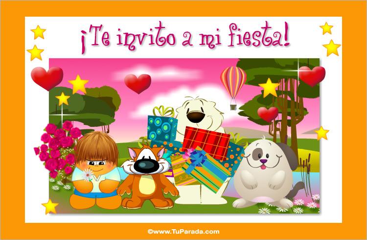 Tarjeta - Invitación de cumpleaños en rosa
