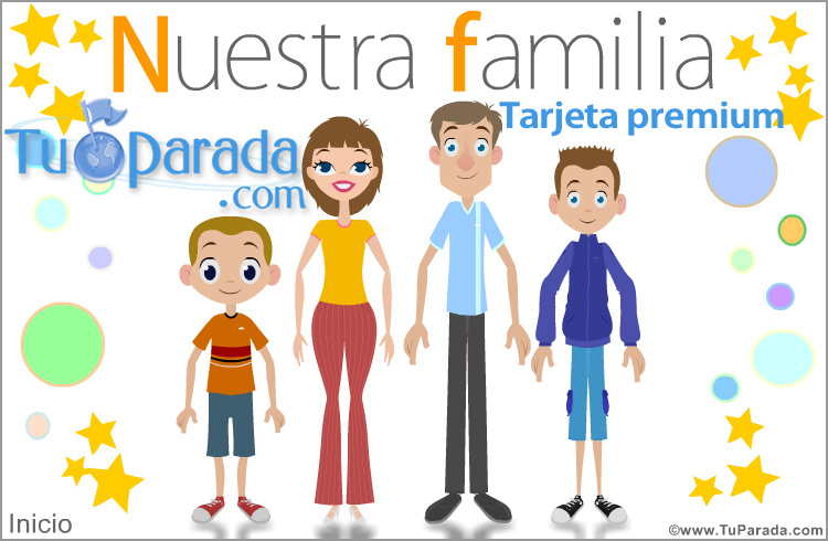 Tarjeta - Familia con dos hijos varones