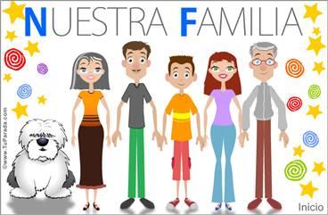 Familia con padres, hijo, abuelos y perro