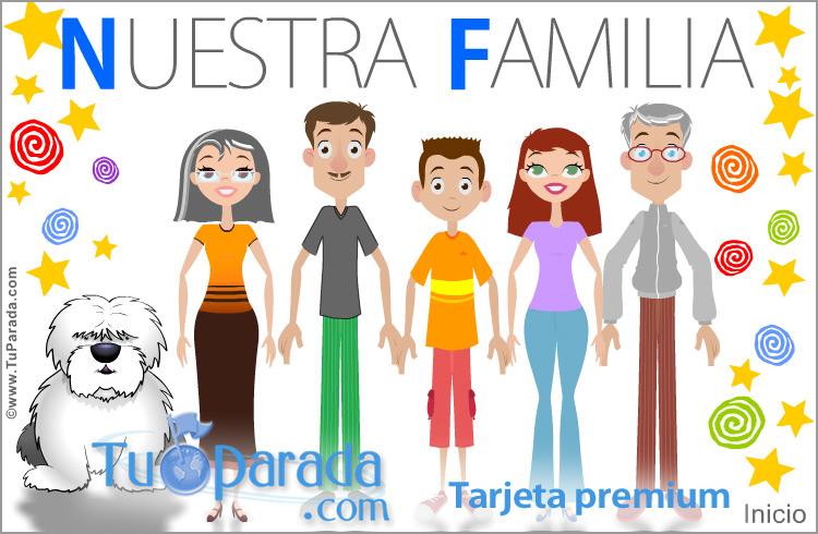 Tarjeta - Familia con padres, hijo, abuelos y perro