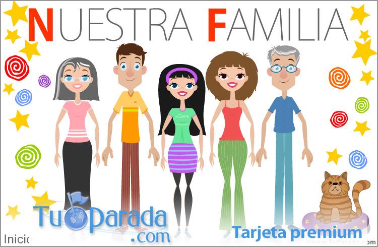 Tarjeta - Familia con padres, hija, abuelos y gato