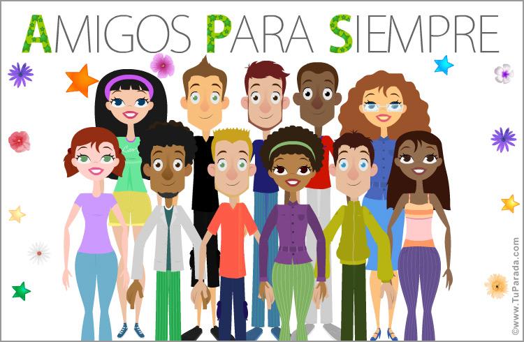 Tarjeta Con Grupo De Amigos Y Amigas Felicitaciones Originales