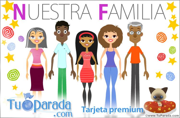 Tarjeta - Tarjeta de familia de padres, hija y abuelos