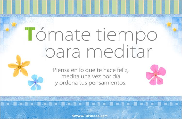 Tarjeta - Tómate tiempo para meditar