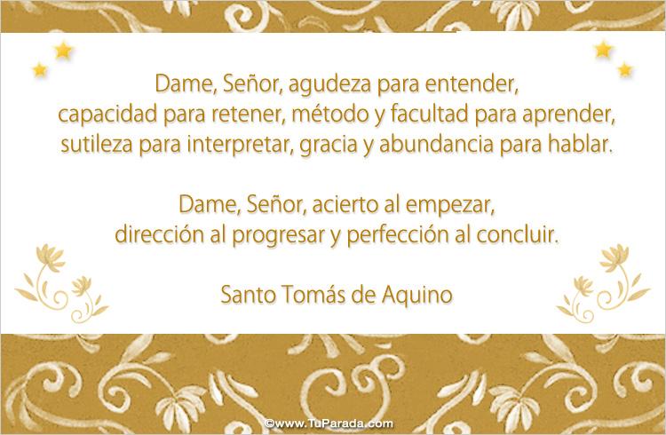 Tarjeta - Dame Señor... de Santo Tomás