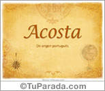 Origen y significado de Acosta