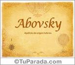 Origen y significado de Abovsky
