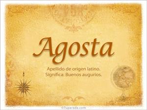 Origen y significado de Agosta