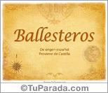 Origen y significado de Ballesteros