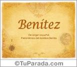 Origen y significado de Benítez