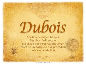Origen y significado de Dubois