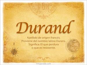 Origen y significado de Durand