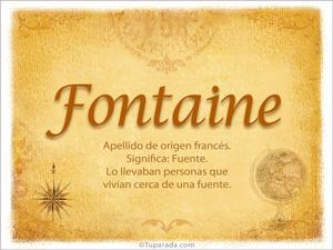 Origen y significado de Fontaine