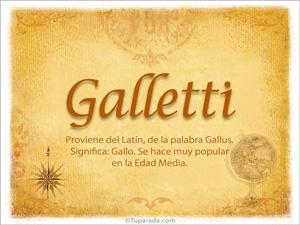 Origen y significado de Galletti