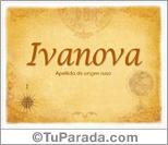 Origen y significado de Ivanova