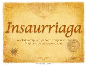 Origen y significado de Insaurriaga