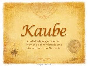 Origen y significado de Kaube