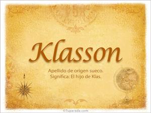 Origen y significado de Klasson