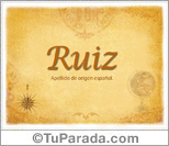 Origen y significado de Ruiz