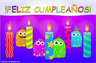 Feliz cumpleaños con velas decoradas