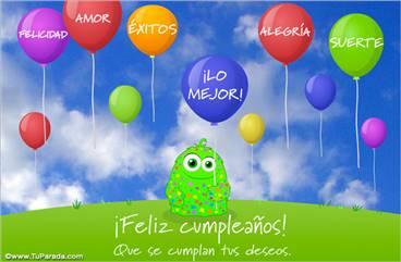Tarjeta de deseos para cumpleaños