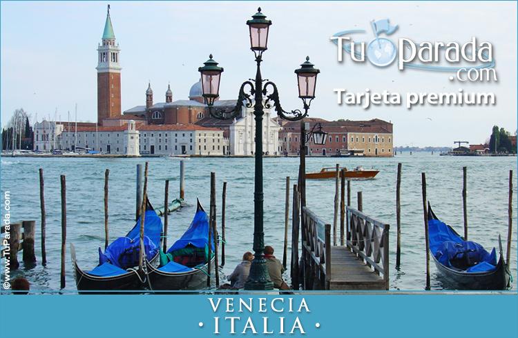 Tarjeta - Foto de Venecia con góndolas - Italia