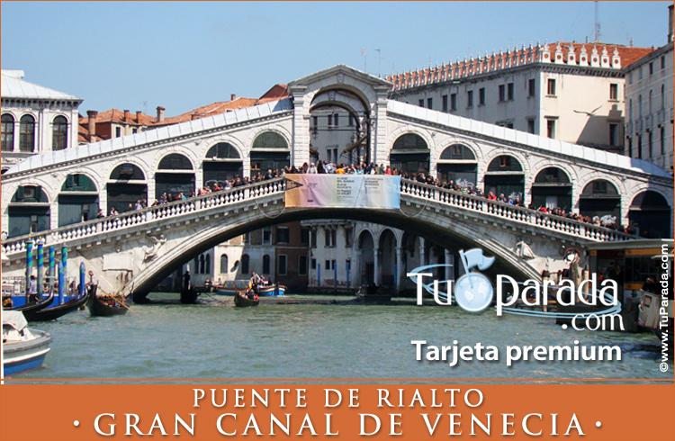 Tarjeta - Foto del Puente de Rialto - El Gran Canal
